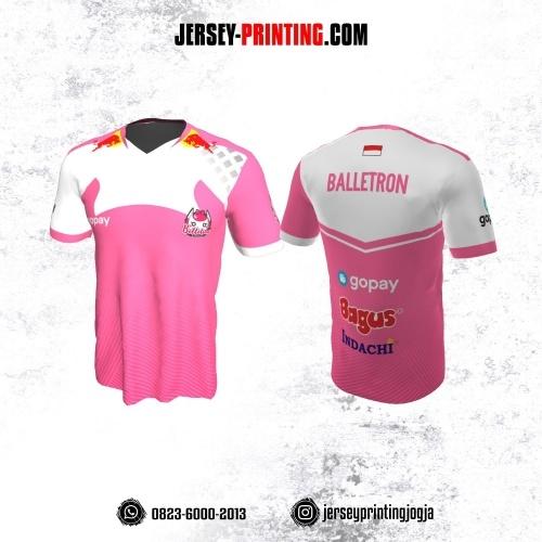 Jersey Gaming Esports Pink Putih Motif Strip