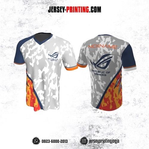 Jersey Gaming Esports Putih Abu-abu Corak Biru Orange Kuning