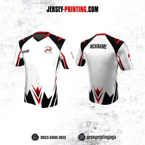 Jersey Gaming Esports Putih Corak Hitam Merah
