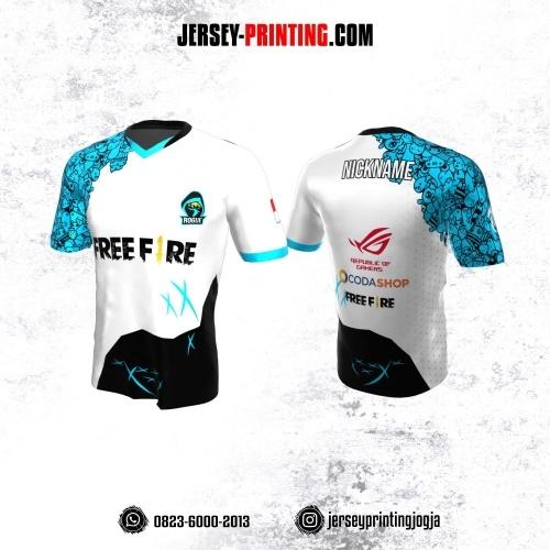 Jersey Gaming Esports Putih Hitam Biru Motif Doodle Art