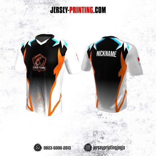 Jersey Gaming Esports Putih Hitam Corak Orange Biru