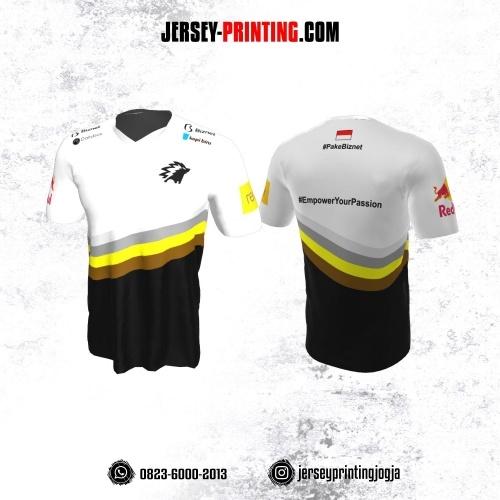 Jersey Gaming Esports Putih Hitam Garis Abu Kuning Coklat