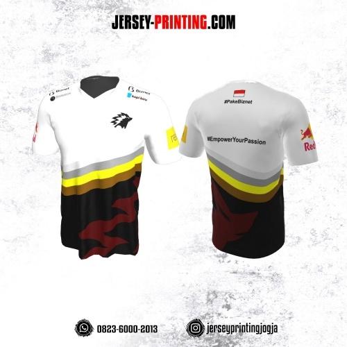 Jersey Gaming Esports Putih Hitam Merah Corak Strip Abu-abu Kuning Coklat