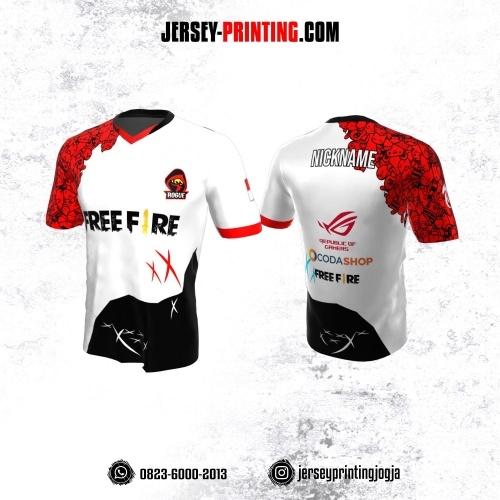 Jersey Gaming Esports Putih Hitam Merah Motif Doodle Art