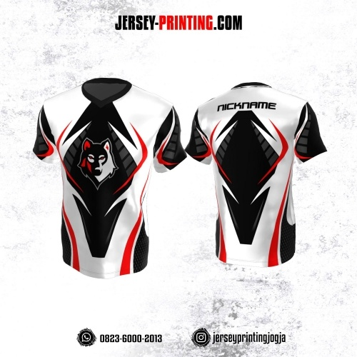 Jersey Gaming Esports Putih Hitam Merah Motif Polkadot Abu-abu