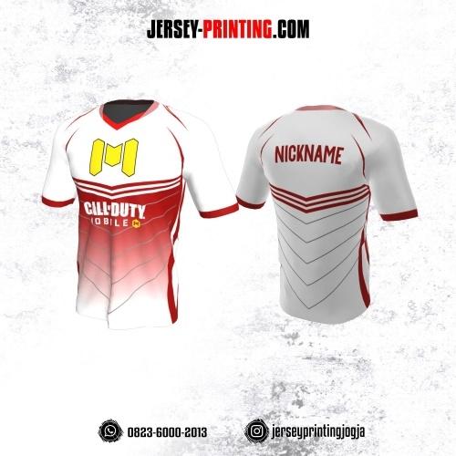 Jersey Gaming Esports Putih Merah Abu-abu Motif Garis