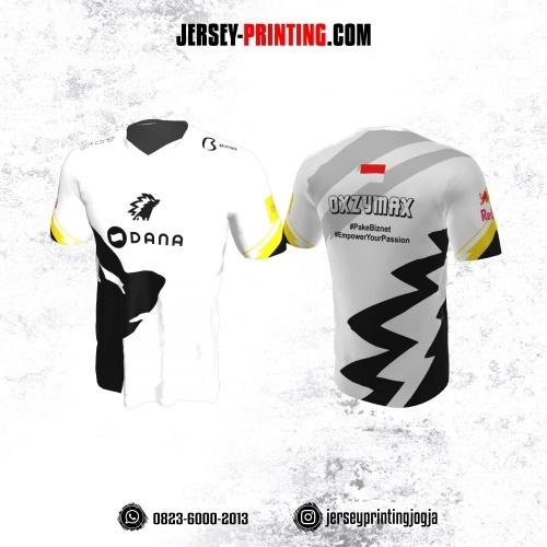 Jersey Gaming Esports Putih Motif Abstrak Hitam Kuning