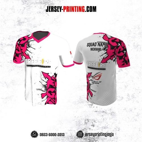 Jersey Gaming Esports Putih Motif Abstrak Pink Hitam