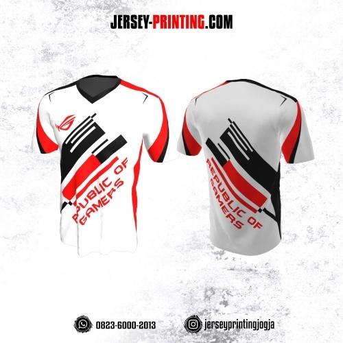 Jersey Gaming Esports Putih Motif Line Hitam Merah
