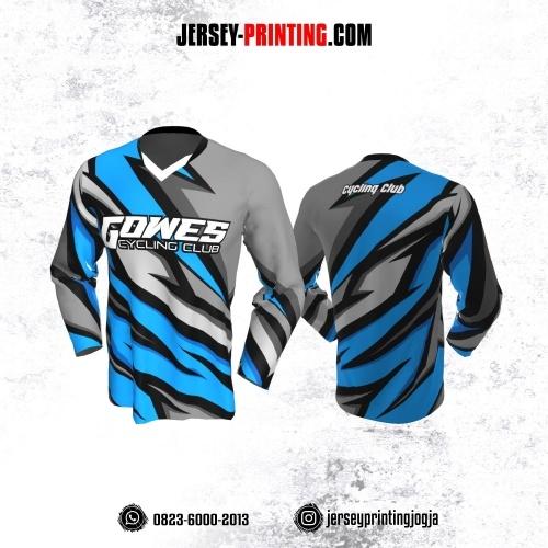 Jersey Gowes Sepeda Abu Biru Hitam Lengan Panjang
