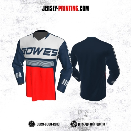Jersey Gowes Sepeda Abu Dongker Merah Lengan Panjang