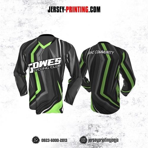 Jersey Gowes Sepeda Abu Hitam Hijau Lengan Panjang