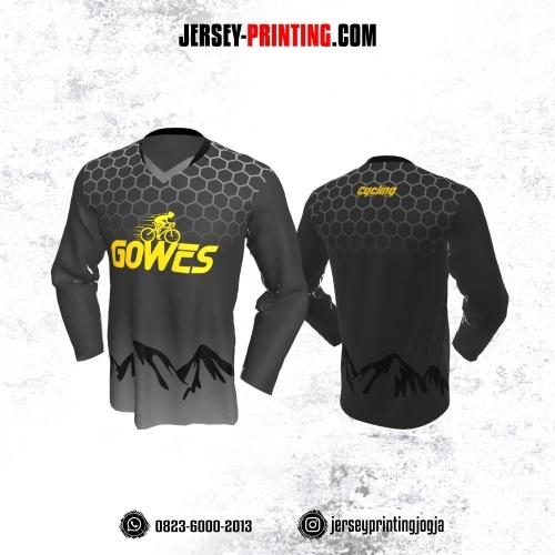 Jersey Gowes Sepeda Abu Hitam Kuning Putih Honeycomb Lengan Panjang