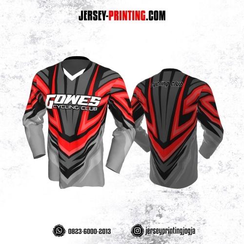 Jersey Gowes Sepeda Abu Hitam Merah Lengan Panjang