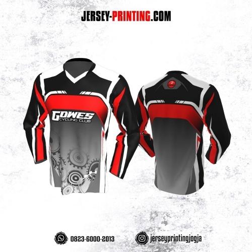 Jersey Gowes Sepeda Abu Hitam Merah Putih Lengan Panjang