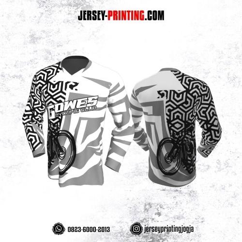 Jersey Gowes Sepeda Abu Hitam Putih Hexagon Lengan Panjang