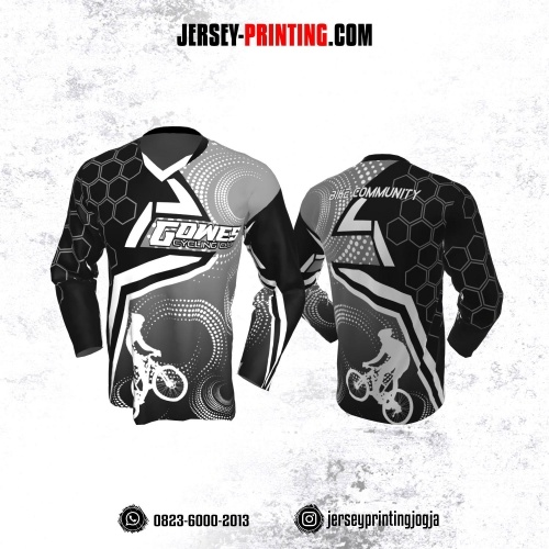 Jersey Gowes Sepeda Abu Hitam Putih Honeycomb Lengan Panjang