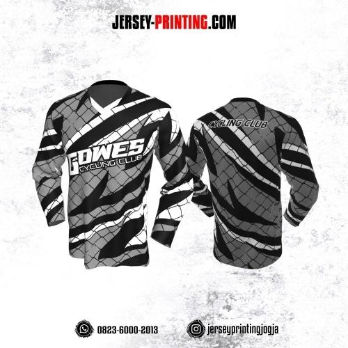 Jersey Gowes Sepeda Abu Hitam Putih jaring Kilat Lengan Panjang