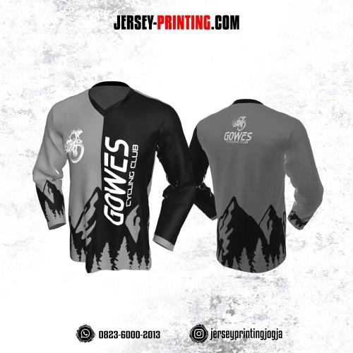 Jersey Gowes Sepeda Abu Hitam Putih Lengan Panjang