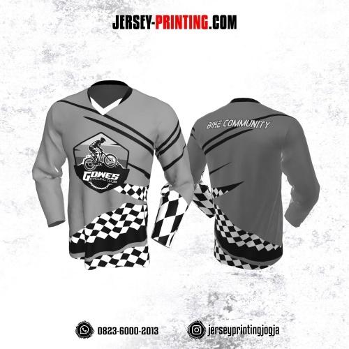 Jersey Gowes Sepeda Abu Hitam Putih Papan Catur Lengan Panjang