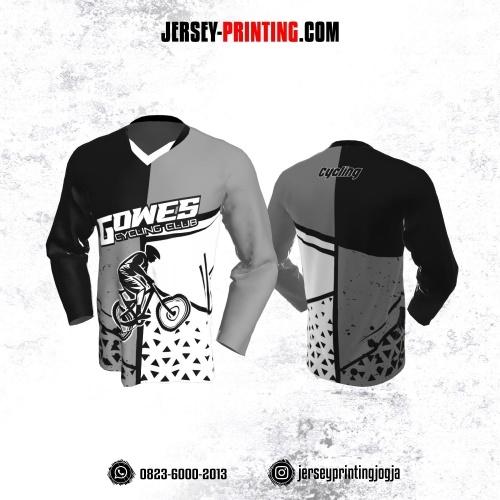 Jersey Gowes Sepeda Abu Hitam Putih Segitiga Lengan Panjang