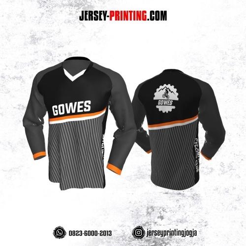 Jersey Gowes Sepeda Abu Hitam Putih Strip Lengan Panjang