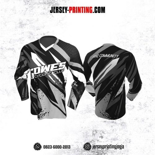 Jersey Gowes Sepeda Abu Hitam Putih Zigzag Lengan Panjang