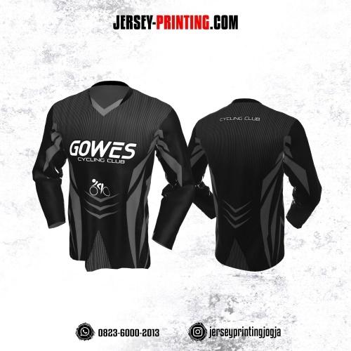 Jersey Gowes Sepeda Abu Hitam Strip Lengan Panjang