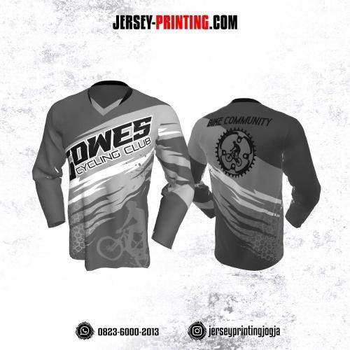 Jersey Gowes Sepeda Abu Honeycomb Lengan Panjang