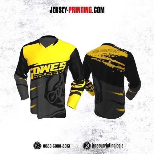 Jersey Gowes Sepeda Abu Kuning Hitam Lengan Panjang