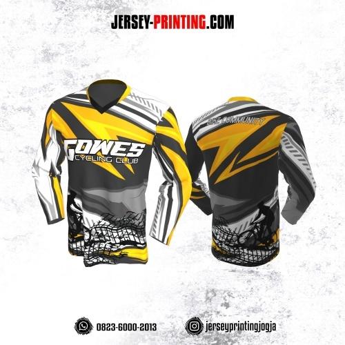Jersey Gowes Sepeda Abu Kuning Hitam Putih Abstrak  Lengan Panjang