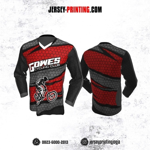 Jersey Gowes Sepeda Abu Merah Hitam Honeycomb Lengan Panjang