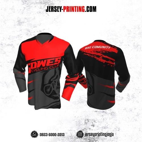 Jersey Gowes Sepeda Abu Merah Hitam Lengan Panjang