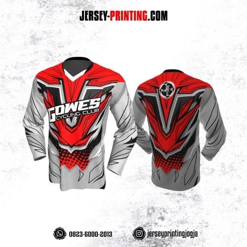 Jersey Gowes Sepeda Abu Merah Line Lengan Panjang