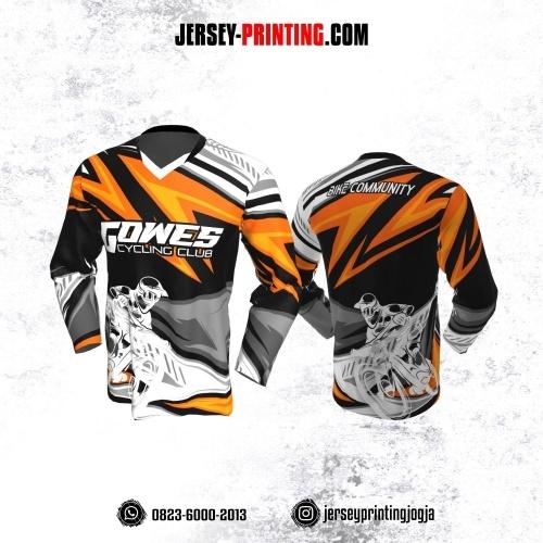 Jersey Gowes Sepeda Abu Orange Hitam Lengan Panjang