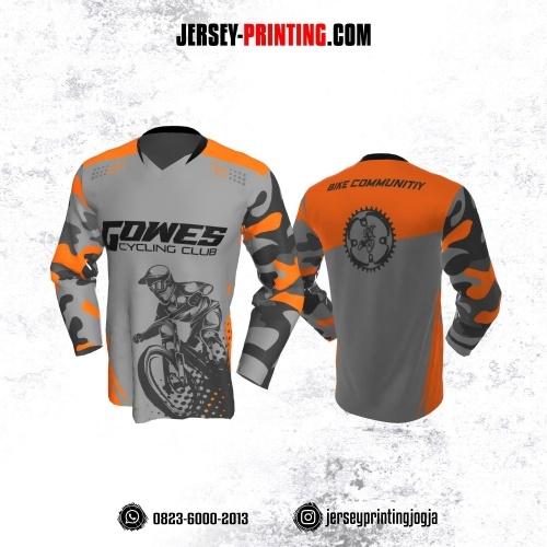 Jersey Gowes Sepeda Abu Orange Loreng Lengan Panjang