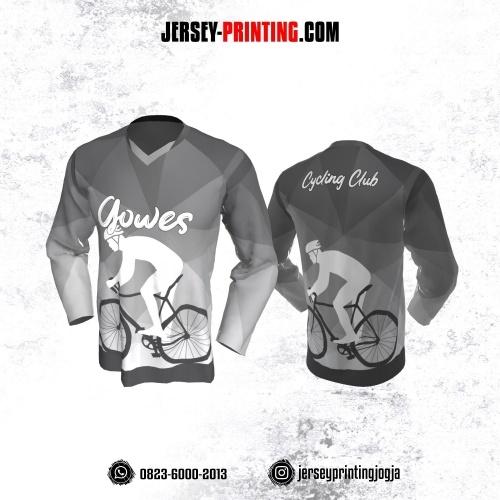 Jersey Gowes Sepeda Abu Putih Gradasi Lengan Panjang