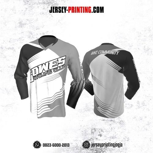 Jersey Gowes Sepeda Abu Putih Strip Lengan Panjang