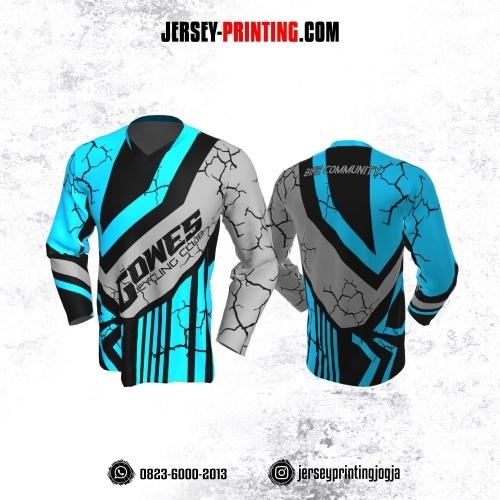 Jersey Gowes Sepeda Biru Abu Hitam Line Lengan Panjang