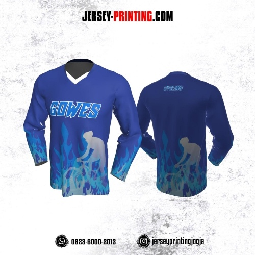 Jersey Gowes Sepeda Biru Api Lengan Panjang