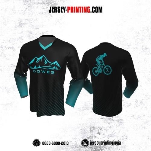 Jersey Gowes Sepeda Biru Aqua Hitam Garis Lengan Panjang