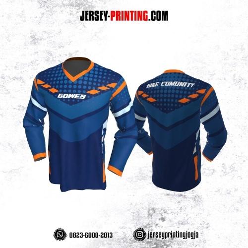 Jersey Gowes Sepeda Biru Dongker Orange Lengan Panjang