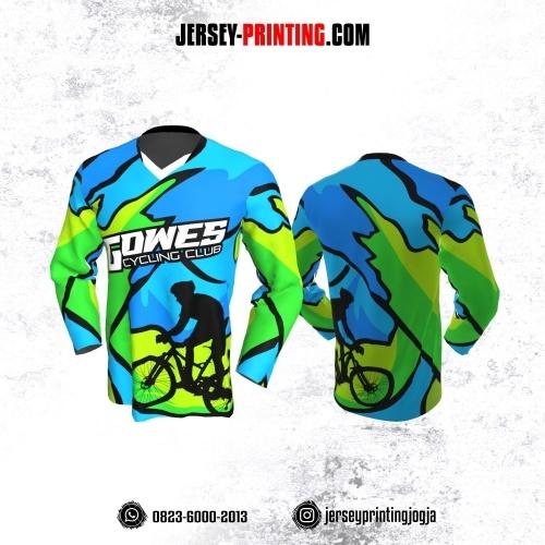Jersey Gowes Sepeda Biru Hijau Hitam Abstrak Lengan Panjang