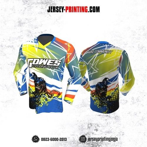 Jersey Gowes Sepeda Biru Hijau Kuning Star Lengan Panjang