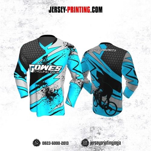 Jersey Gowes Sepeda Biru Hitam Abu Honeycomb Lengan Panjang