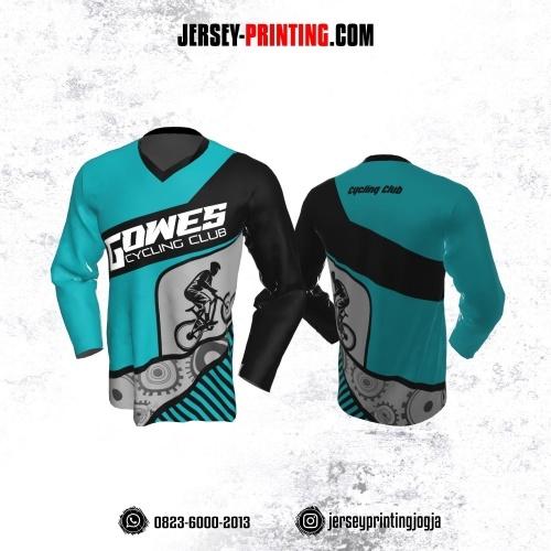 Jersey Gowes Sepeda Biru Hitam  Abu Lengan Panjang