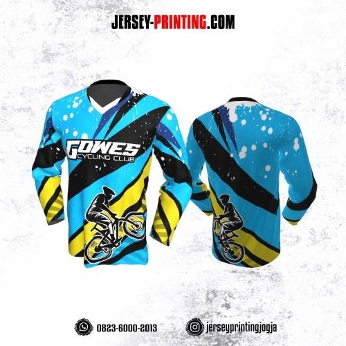Jersey Gowes Sepeda Biru Hitam Kuning Putih Panjang