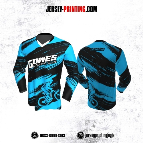 Jersey Gowes Sepeda Biru Hitam Lengan Panjang