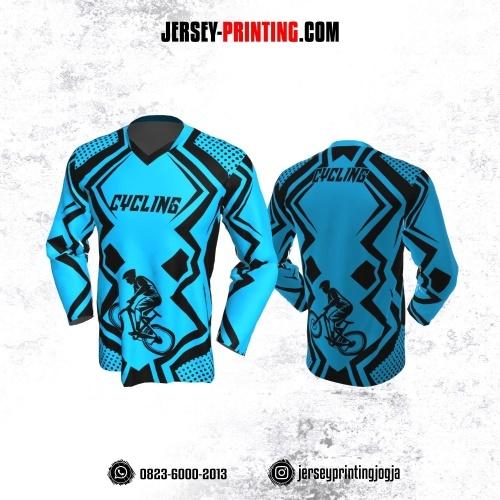 Jersey Gowes Sepeda Biru Hitam Line Lengan Panjang