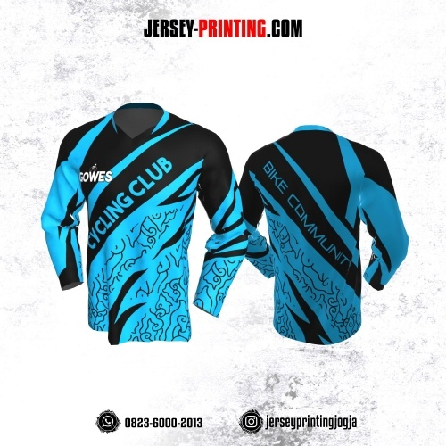 Jersey Gowes Sepeda Biru Hitam  Mega Mendung Lengan Panjang
